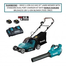 15 in Lawn Mower with Standard Dual Port Charger Kit with Bonus DUB184Z Brushless 18V Li-Ion Blower (Tool Only)